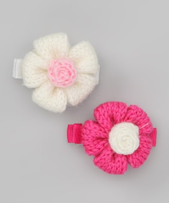White & Pink Puff Flower Clip Set