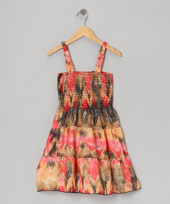 Orange & Brown Sparkle Dress