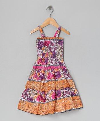 Pink & Orange Sparkle Dress - Girls