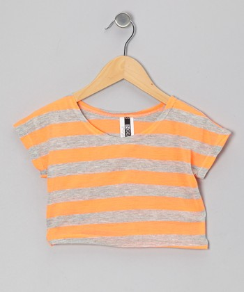 Orange Stripe Crop Top - Girls