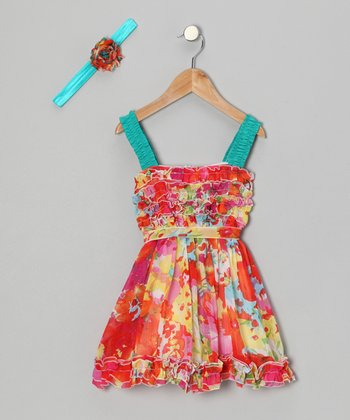 Red Spring Floral Dress & Headband - Toddler & Girls