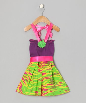 Purple & Lime Zebra Halter Dress - Infant, Toddler & Girls