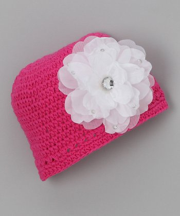 Hot Pink Flower Flapper Beanie