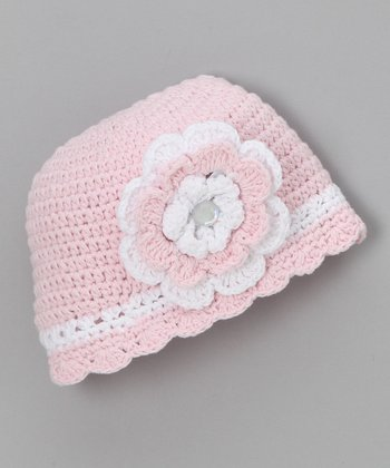 Light Pink Flower Flapper Beanie - Infant & Toddler