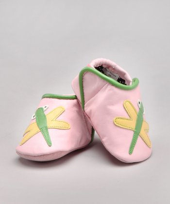 Pink Dragonfly Leather Shoe - Infant