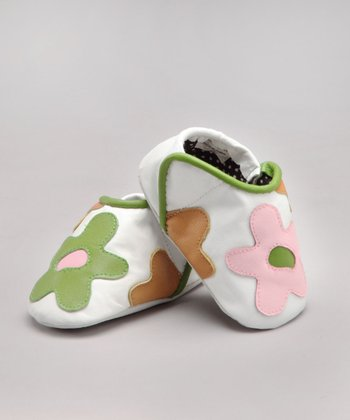 White Flower Leather Shoe - Infant