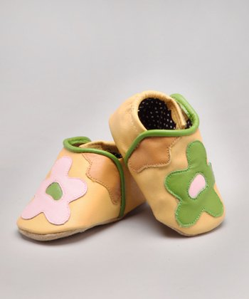 Yellow Flower Leather Shoe - Infant