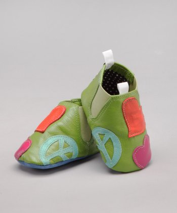 Lime Peace & Love Leather Shoe