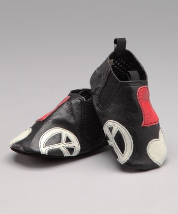 Black Peace & Love Leather Shoe