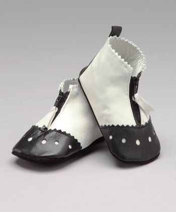 White Zippity Leather Shoe - Infant