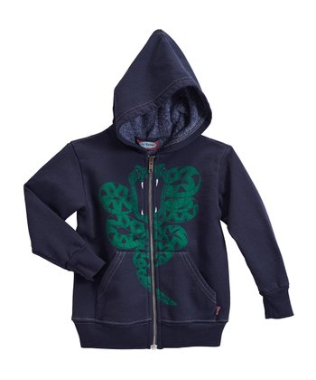 Dark Navy Snake Zip-Up Hoodie - Toddler & Kids