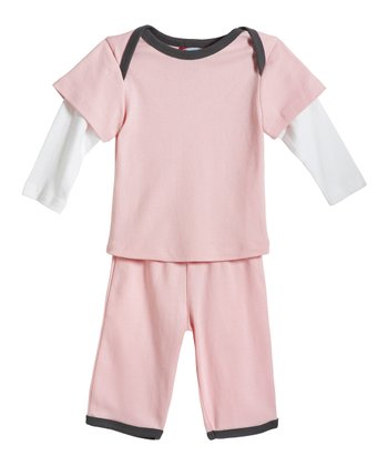 Pink & Charcoal Layered Top & Pants - Infant