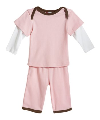 Pink & Chocolate Layered Top & Pants - Infant