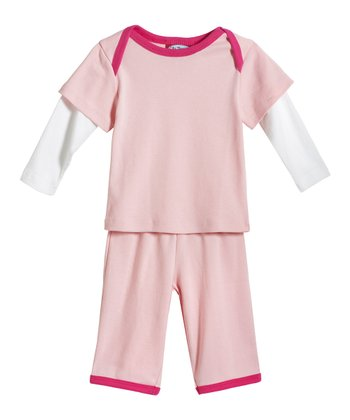 Pink & Hot Pink Layered Top & Pants - Infant