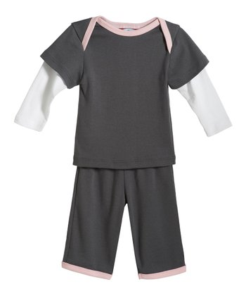 Charcoal & Pink Layered Top & Pants - Infant
