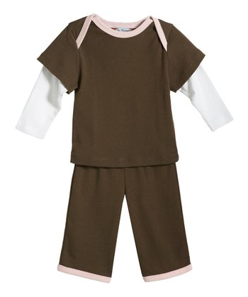 Chocolate & Pink Layered Top & Pants - Infant