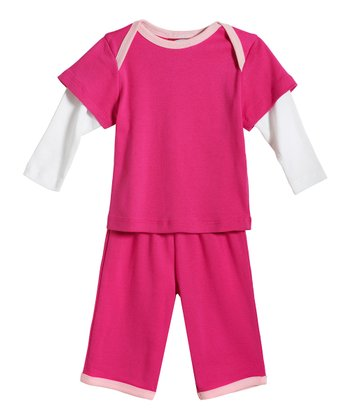 Hot Pink & White Layered Top & Pants - Infant