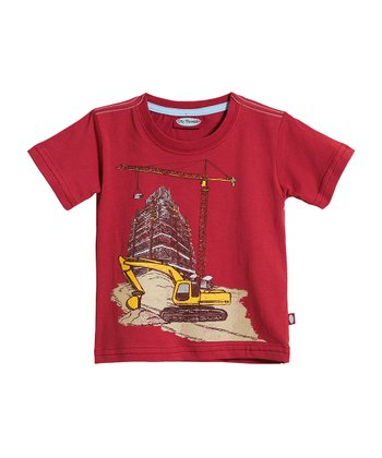 Red Construction Scene Tee - Infant, Toddler & Kids