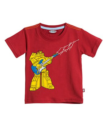 Red & Yellow Guitar Robot Tee - Infant & Toddler