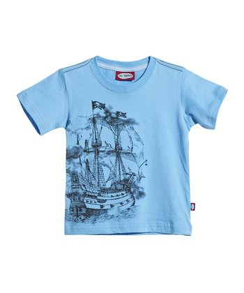 Bright Light Blue Pirate Ship Tee - Infant, Toddler & Kids