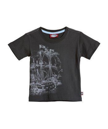Vintage Black Pirate Ship Tee - Infant, Toddler & Kids