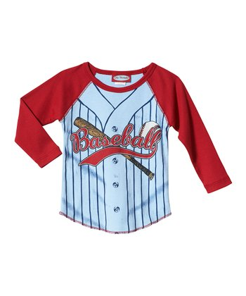 Blue & Red Baseball Jersey Raglan Tee - Infant & Toddler