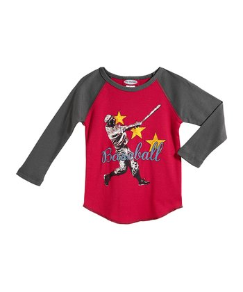 Red & Charcoal 'Baseball' Raglan Tee - Infant, Toddler & Boys
