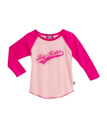Pink & Hot Pink 'Big Sister' Raglan Tee - Toddler & Girls