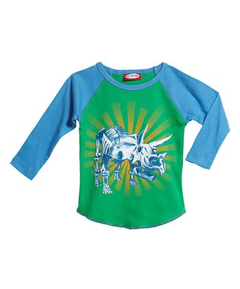 Green & Bright Blue Raglan Tee - Infant & Toddler