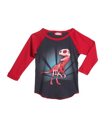 Navy & Red T-Rex Skeleton Raglan Tee - Infant & Toddler