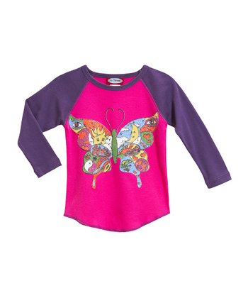 Hot Pink & Purple Butterfly Raglan Tee - Infant & Kids
