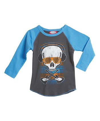Charcoal Skull & Headphones Raglan Tee - Infant & Toddler