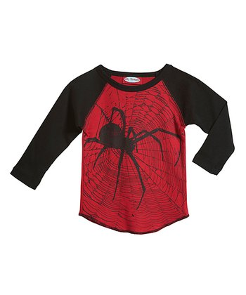 Red & Black Spider Raglan Tee - Infant