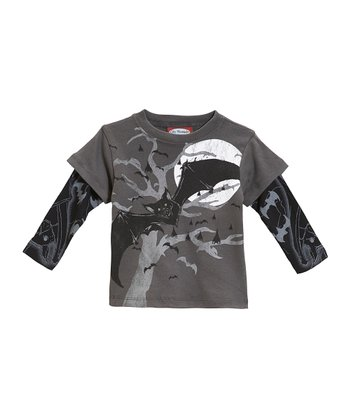 Charcoal Bat Layered Tee - Infant