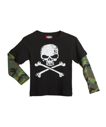 Black Mean Skull Layered Tee - Boys