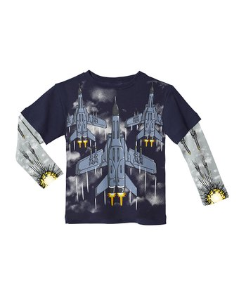 Navy & Light Gray Jet Fighter Layered Tee - Infant