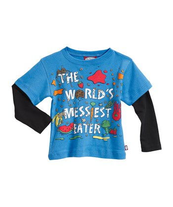Bright Blue & Black 'World's Messiest Eater' Layered Tee - Infant