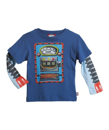 Denim Blue & Baby Blue Robot Layered Tee - Infant, Toddler & Boys