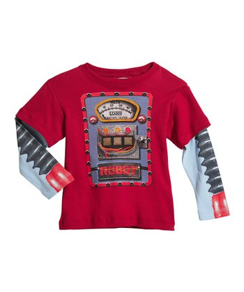 Red & Baby Blue Robot Layered Tee - Toddler