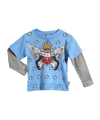 Bright Light Blue & Light Gray Layered Tee - Infant & Boys