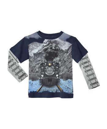 Navy Train Layered Tee - Infant & Kids