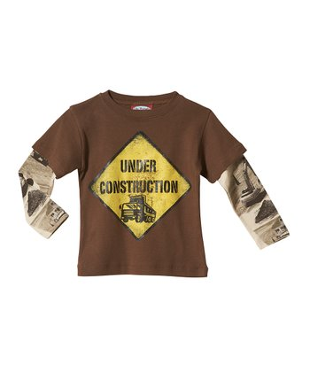 Chocolate & Tan 'Under Construction' Layered Tee - Infant