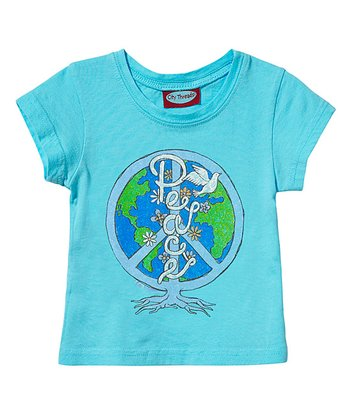 Turquoise 'Peace' Tee - Infant, Toddler & Girls
