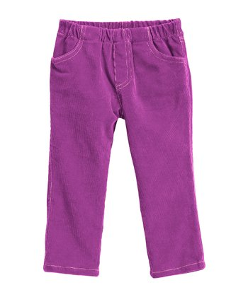 Plum & Light Pink Corduroy Jeggings - Infant, Toddler & Girls