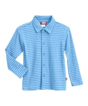 Bright Light Blue Soft Jersey Button-Up - Infant, Toddler & Boys