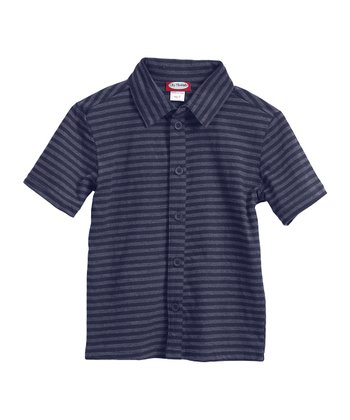 Dark Navy Soft Jersey Stripe Button-Up - Infant, Toddler & Boys