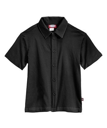 Black & Dark Gray Soft Jersey Button-Up - Infant, Toddler & Boys