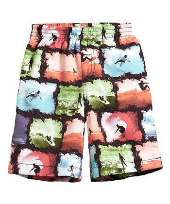 Coral & Green Surf Pictures Swim Trunks - Infant, Toddler & Boys