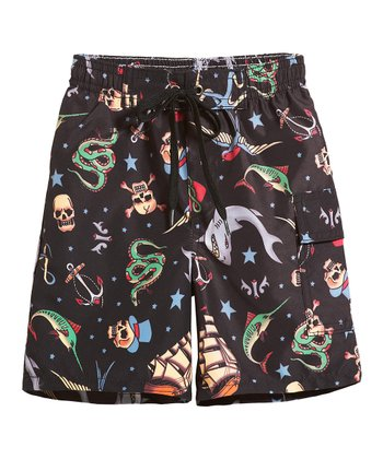 Black Sea Tattoo Boys Swim Trunks - Infant