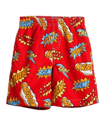 Red Comics Swim Trunks - Infant, Toddler & Boys